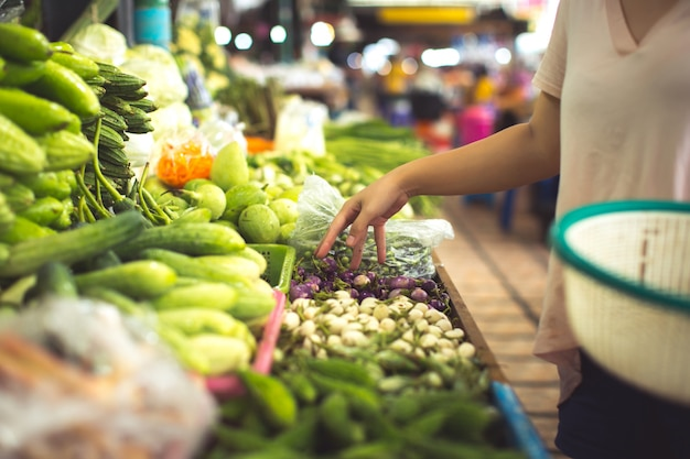 Woman shopping organic vegetables and fruits Free Photo