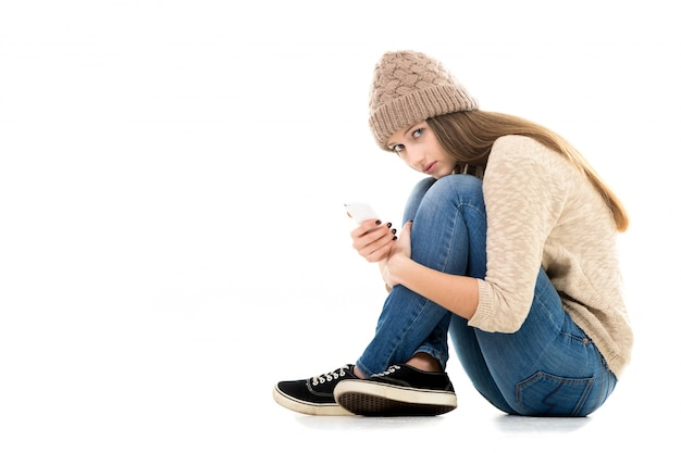 Woman sitting on the floor Free Photo