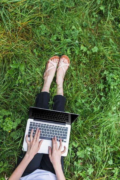 女性、明るい、草の上、ノートパソコン 無料写真