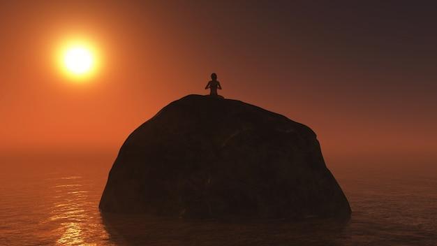 Woman sitting on a rock at sunset Free Photo
