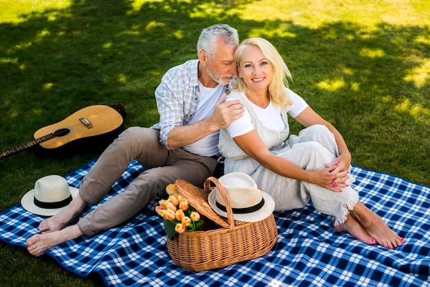 Woman smiling with his man on her side Free Photo