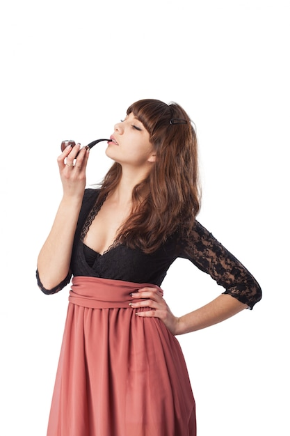 woman smoking a pipe photo free download