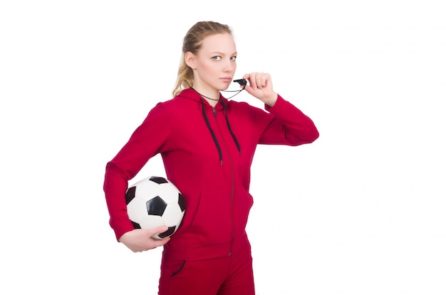 Woman in sports concept isolated on white Premium Photo