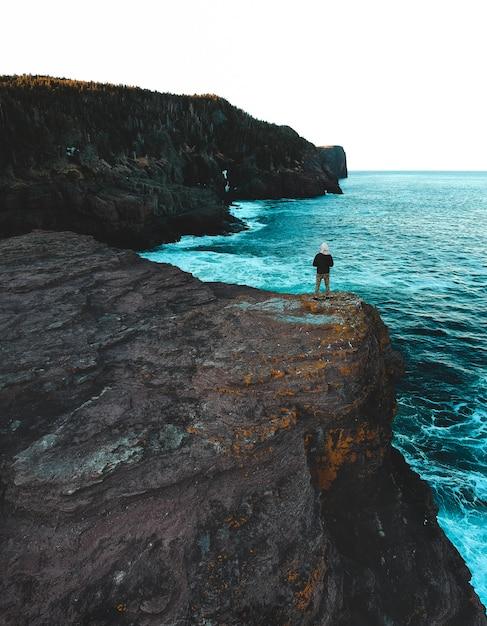 昼間に海の近くの岩の上に立っている女性 無料写真