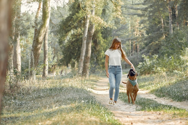 Woman in a summer forest playing with dog Free Photo