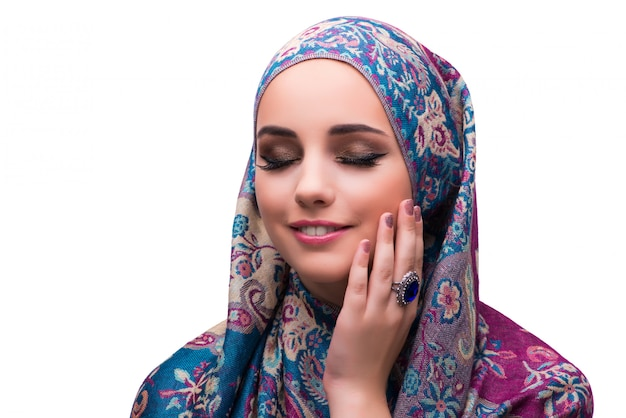 Woman in traditional muslim cover with ring Premium Photo