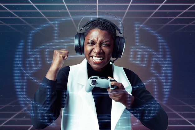 ビデオゲームをプレイするバーチャルリアリティヘッドセットを身に着けている女性 無料写真
