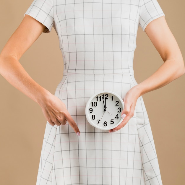 Woman in white dress showing her menstruation period Free Photo