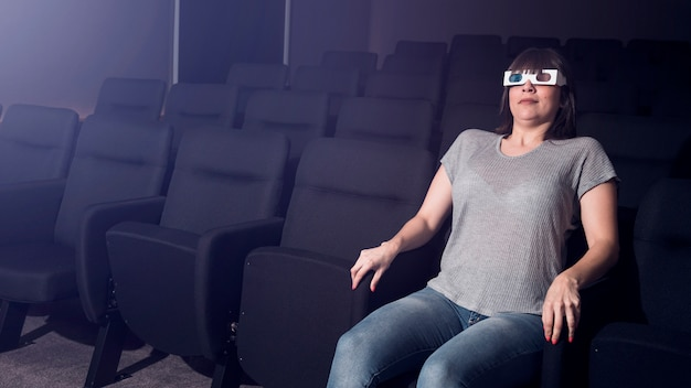 Woman with 3d glasses in cinema Photo   Free Download