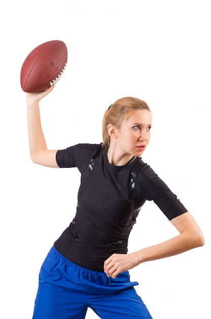Woman with american football isolated on white Premium Photo
