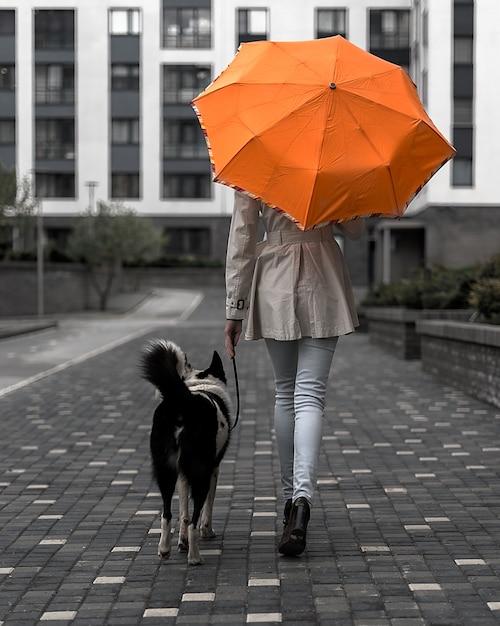 Женщина с оранжевым зонтиком гуляет с собакой по городу Premium Фотографии