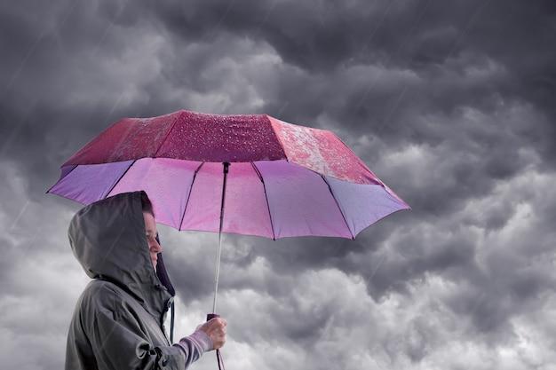 暗い嵐の空を背景に傘を持つ女性 Premium写真