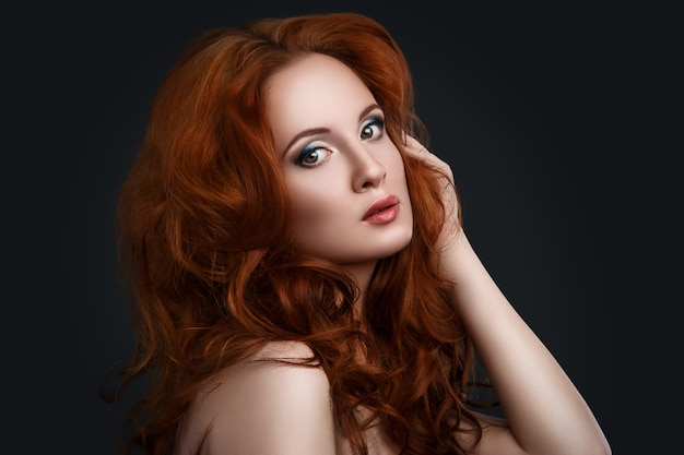 Woman with beautiful red hair Premium Photo