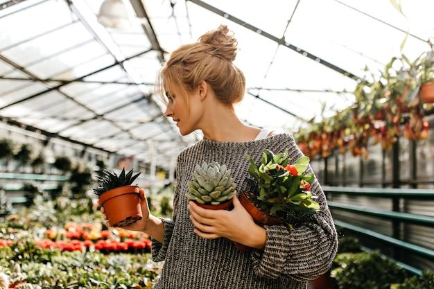 お団子を頭に抱えた女性は店内の植物を見て、サボテン、多肉植物、オレンジ色の花の茂みが付いた小さな鉢を持っています。 無料写真