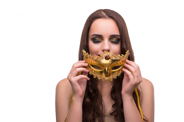 Woman with carnival mask isolated on white Premium Photo