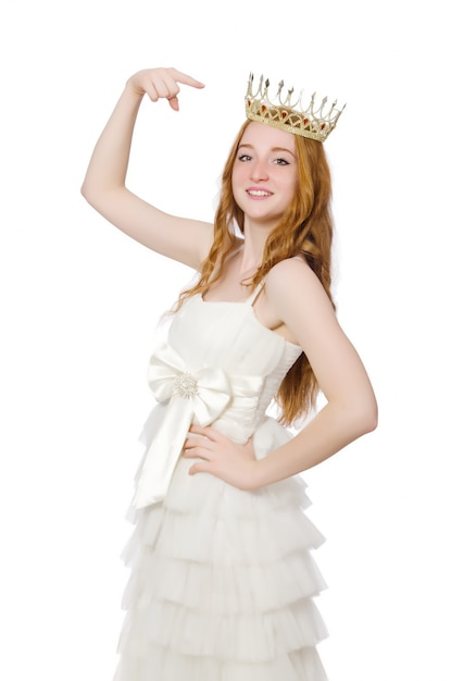 Woman with crown isolated on white Premium Photo