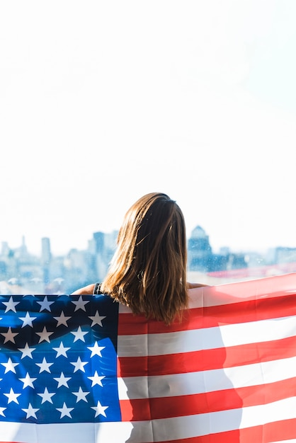 Woman with flag of america Free Photo
