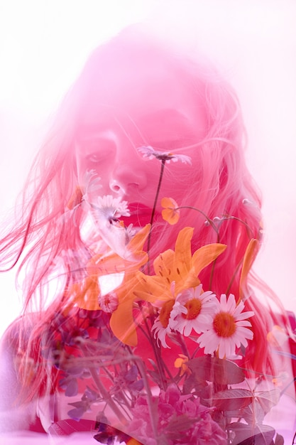 Woman with flowers inside, double exposure Premium Photo