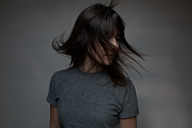 Woman with flying hair Free Photo
