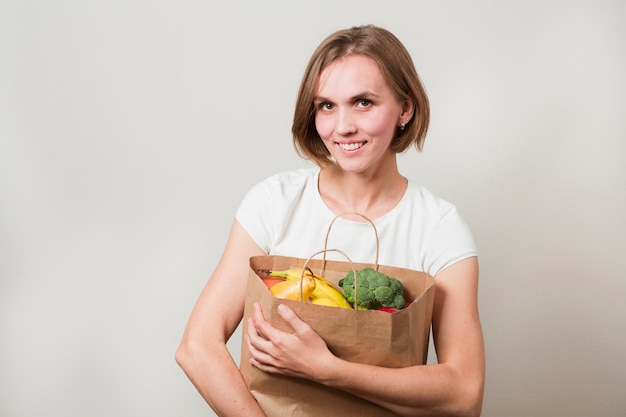 Woman with food Free Photo