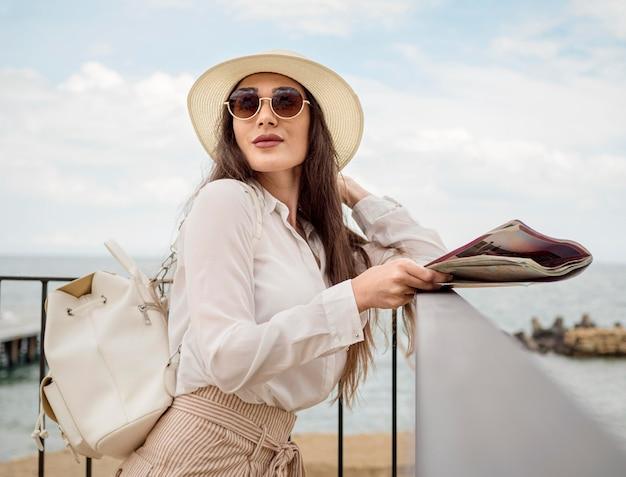 旅行帽子の女 無料写真