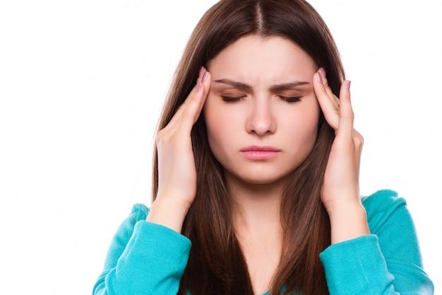 Woman with headache, migraine, stress, insomnia, hangover Premium Photo