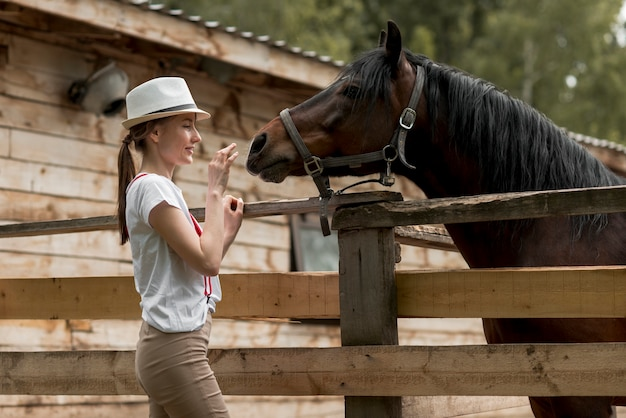 Woman with a horse in the stable Free Photo