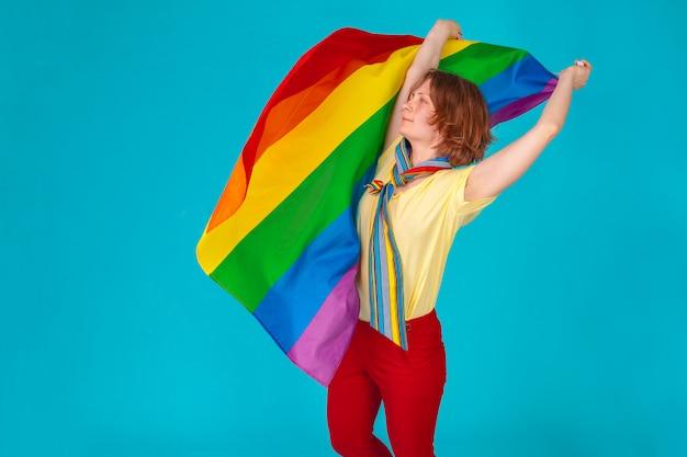 Woman with  lgbt flag Premium Photo