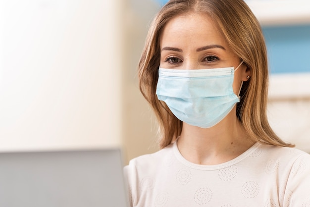 Woman with mask in quarantine portrait Free Photo