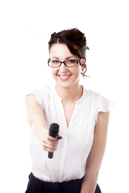 Woman with a microphone Free Photo