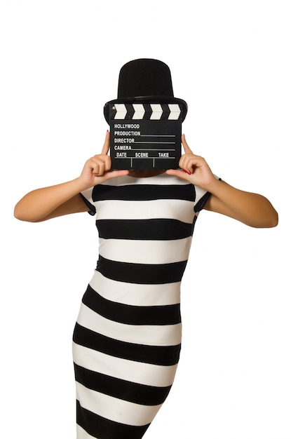 Woman with movie clapper on white Premium Photo