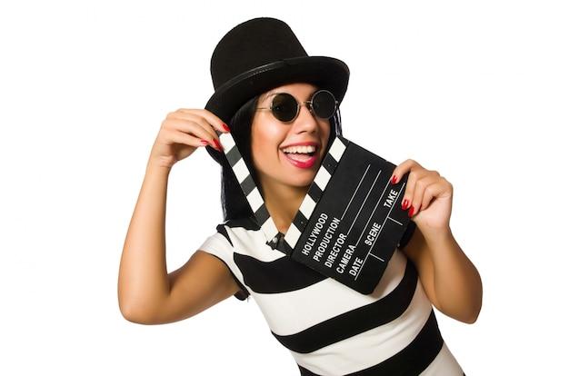 Woman with movie clapper on white Premium Photo