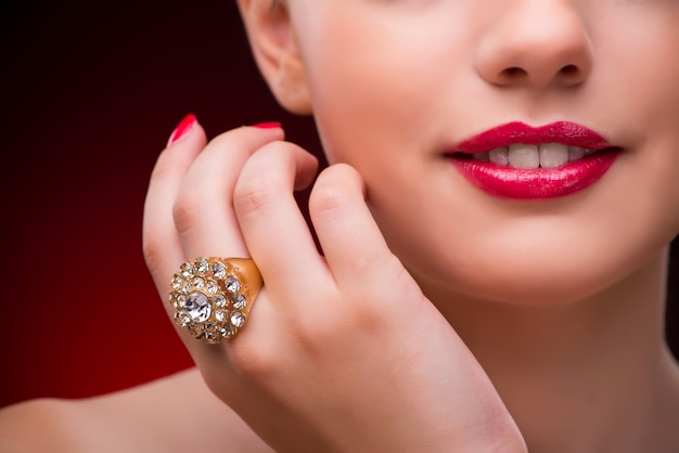Woman with nice ring in beauty concept Premium Photo