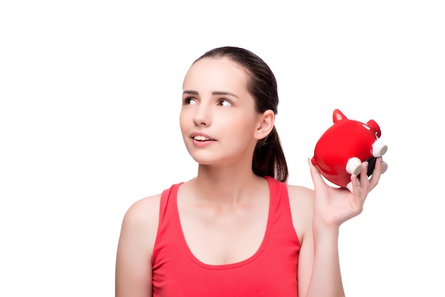 Woman with piggy bank isolated on white Premium Photo