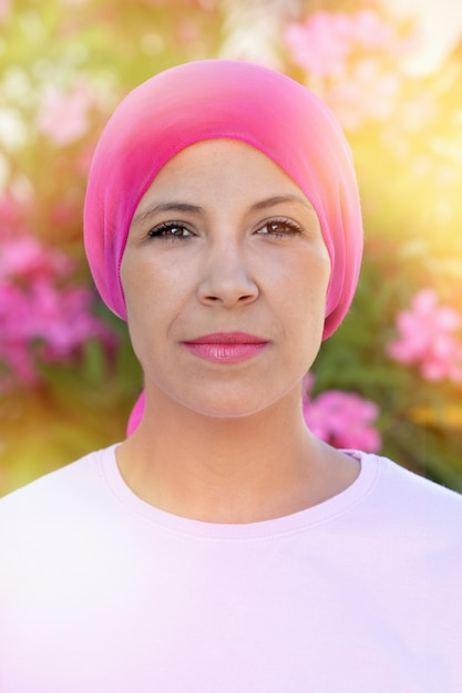 Woman with pink scarf on the head Premium Photo