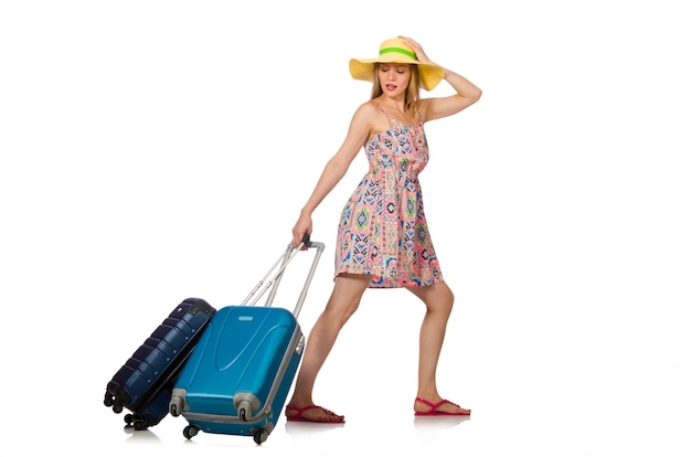 Woman with suitcase isolated Premium Photo
