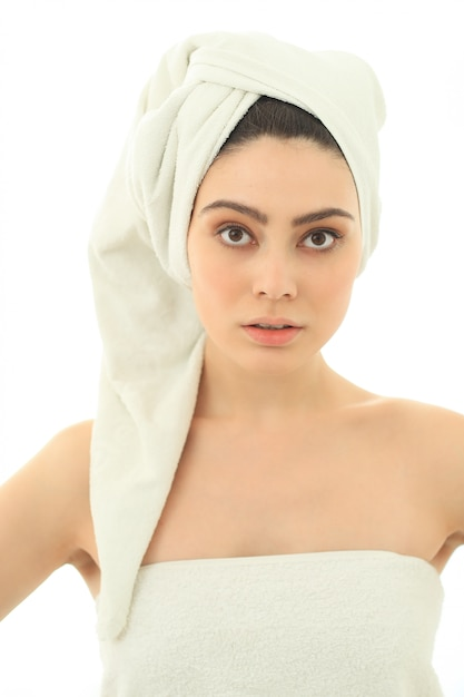 Naked woman in towel stock photo. Image of freshness