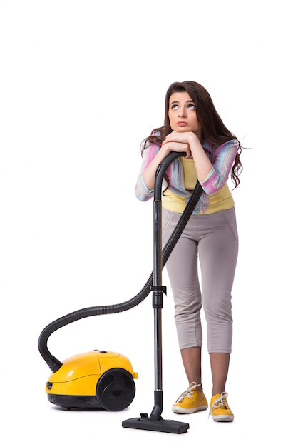 Woman with vacuum cleaner isolated on white Premium Photo