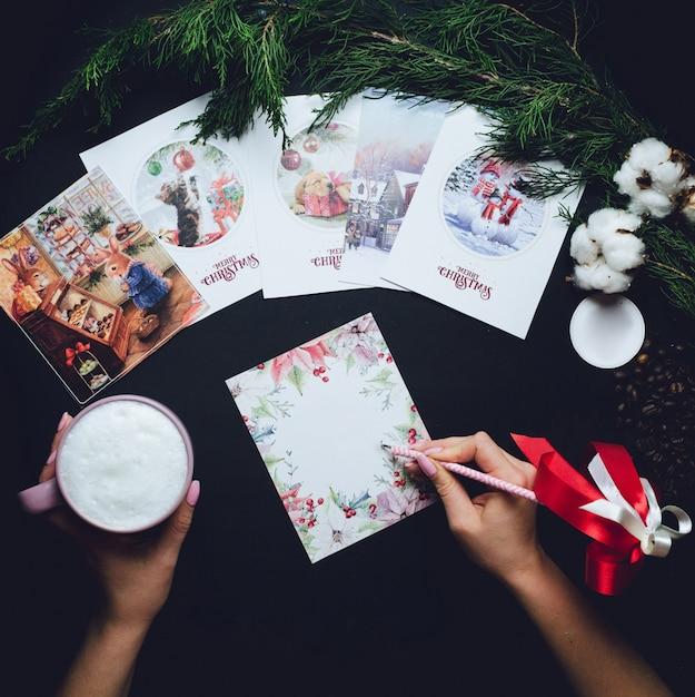女、クリスマス、ポストカード、ミルク、カップ 無料写真