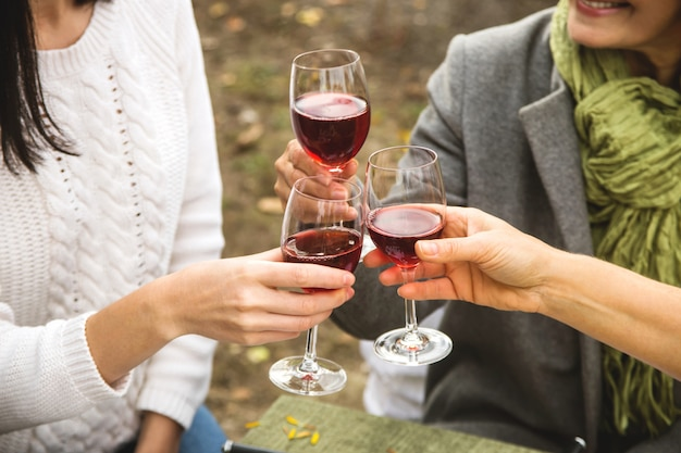 Women clink glasses with wine at autumn family dinner. Premium Photo