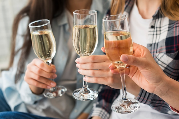 Women holding champagne glasses for toast Free Photo