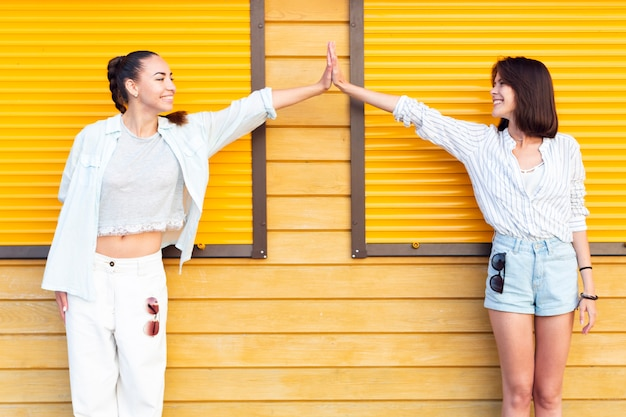 Women looking at each other while high fiving Free Photo