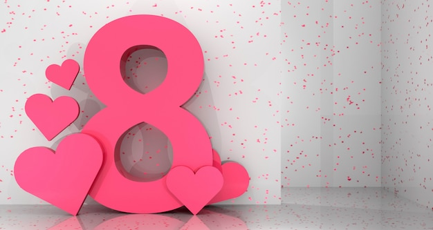 Women's day banner background. 3d rendering. Premium Photo