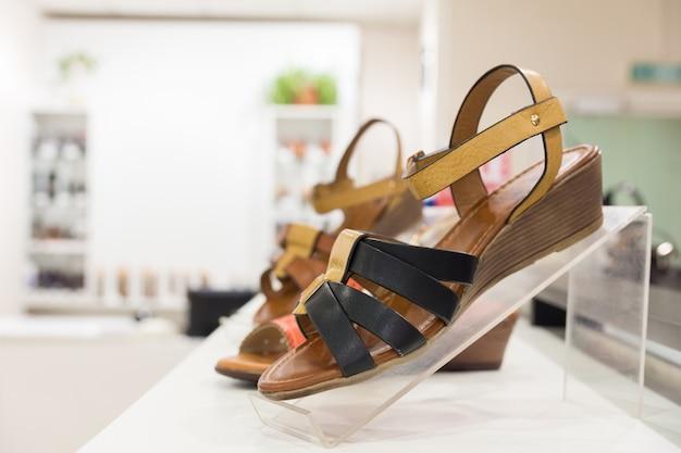 Women's shoes in a shop Premium Photo