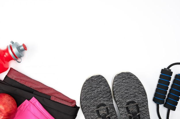 Women's sportswear for active sports on a white background Premium Photo