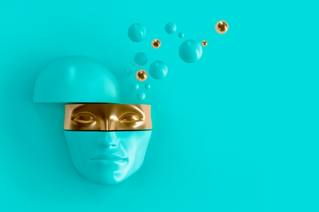 Women's volume face cut to pieces. part of the face represents the mask. Premium Photo