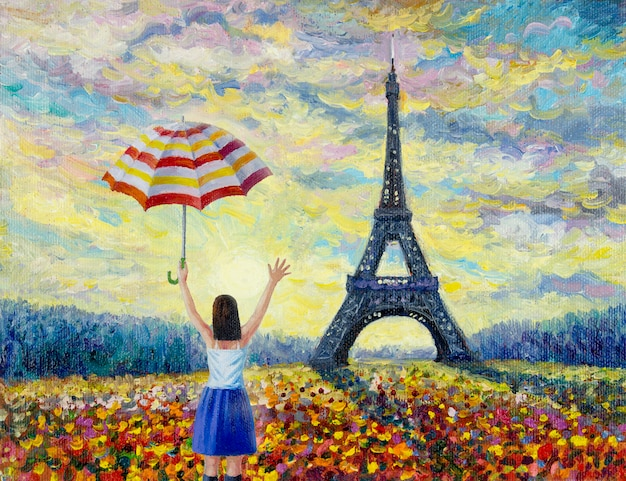 Women travel, paris european city famous landmark Premium Photo