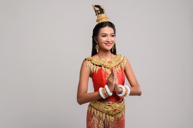 Women wearing thai clothing that pay respect,sawasdee symbol Free Photo