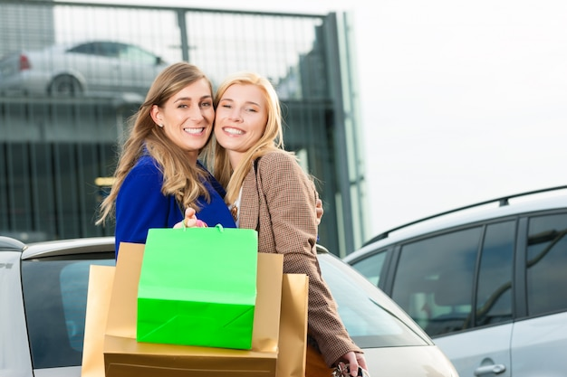 Women were shopping and driving home Premium Photo