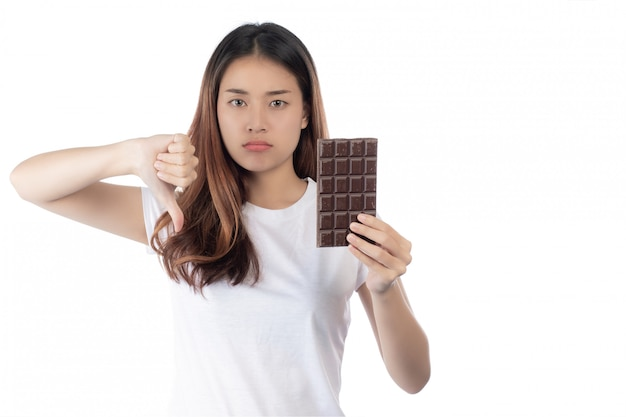 Women who are against chocolate,isolated on a white background. Free Photo